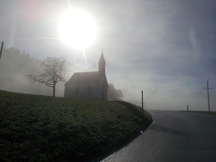 church, sunrise, road